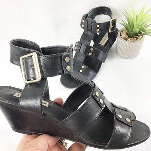 Steve Madden Abrams Black Gladiator Wedge Sandals